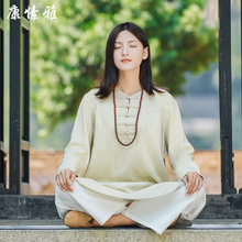 Autumn Women Yoga Set Cotton Linen Yoga Shirts Wide Leg Loose Yoga Pants Meditation Tai Chi Uniforms Kungfu Martial Arts Clothes autumn men yoga set tai chi kungfu clothes cotton linen chinese traditional loose shirt pant meditation martial arts uniforms