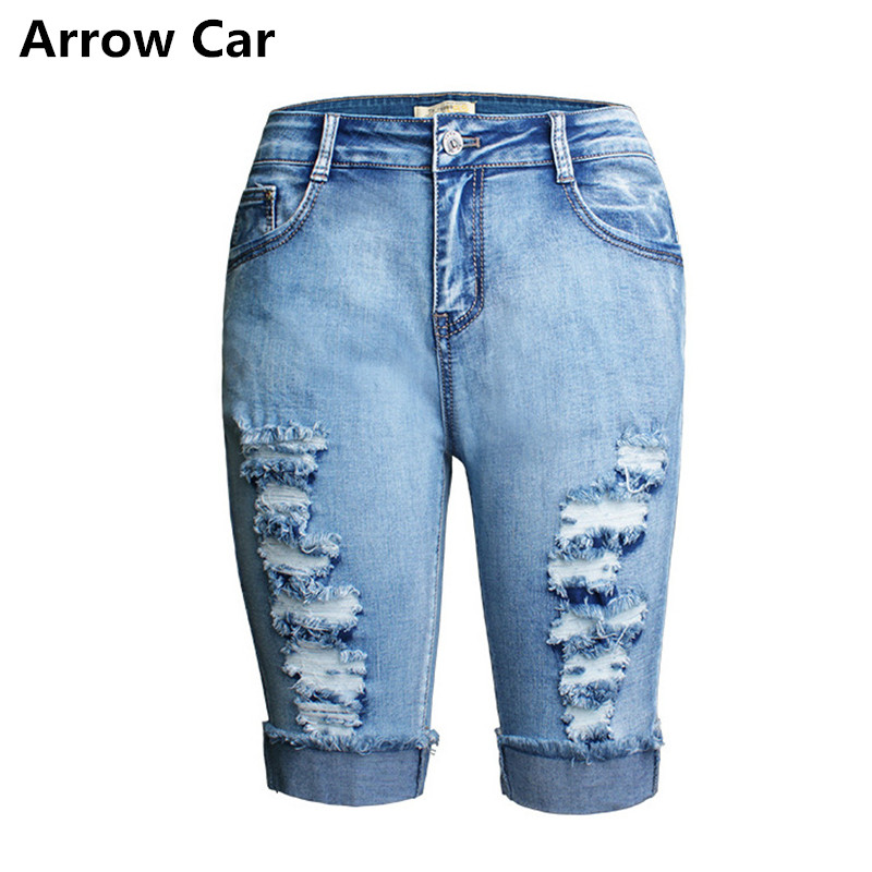 Arrow Car Short Jeans Women Elastic wash worn and curled women's denim cropped Jeans Casual short W