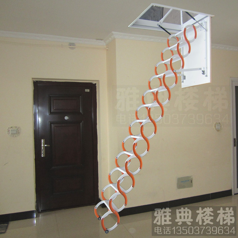 Attic Stairs Steel Telescopic Ladder Household Indoor Buildings Duplex Top  Small Folding Hidden Staircase Handrail On Aliexpress.com | Alibaba Group