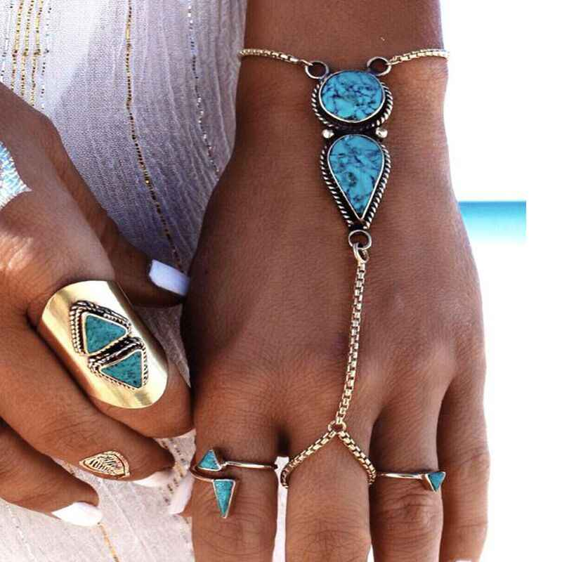 Bohemian Beach Retro Ethnic Style Round Water Drops Green Pattern Stone Fingering Ancient Silver Bracelet Female Hand Jewelry