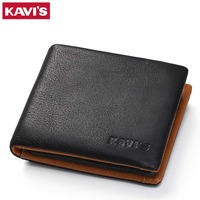 KAVIS Genuine Leather Wallet Men Coin Purse Male Cuzdan Small Walet Portomonee PORTFOLIO Slim Mini Perse