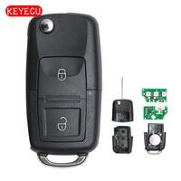 Keyecu clé de voiture 2 boutons | Rabattable  puce ID48 433MHz  pour VW Passat Golf coccinelle Bora 1997-2001 1J0 959 753 N