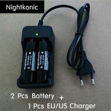 Nightkonic 2 PCS18650 battery + 1 PCS (EU/US) 2 slot Charger Original 3.7V Li-ion Rechargeable Battery Black