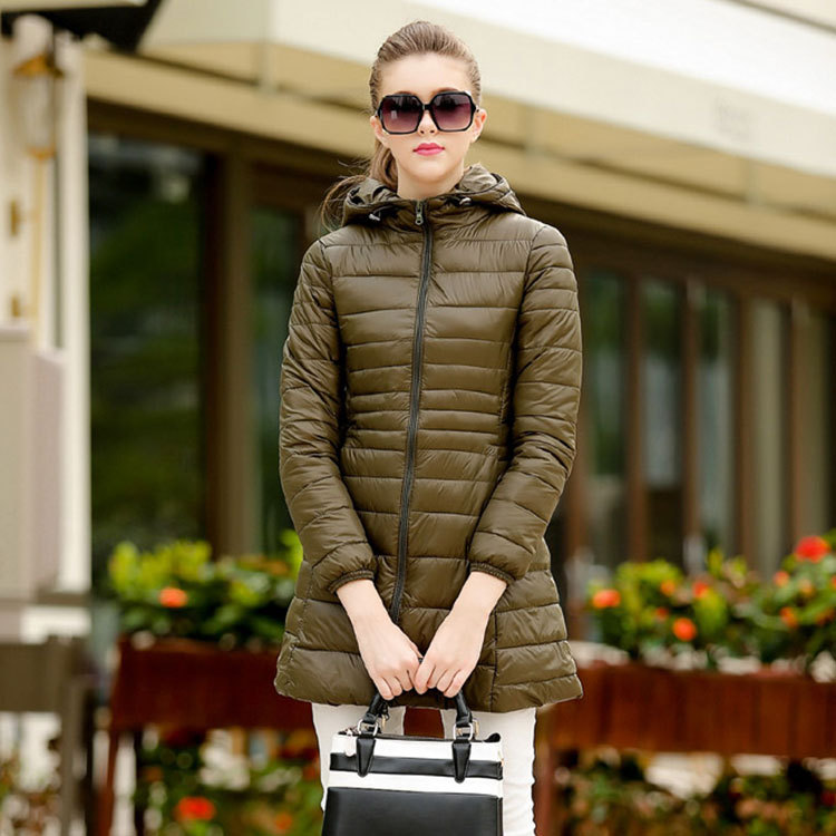 2016 new European fashion solid color for fall/winter long thin hooded slim slimming cotton parkas women's coat