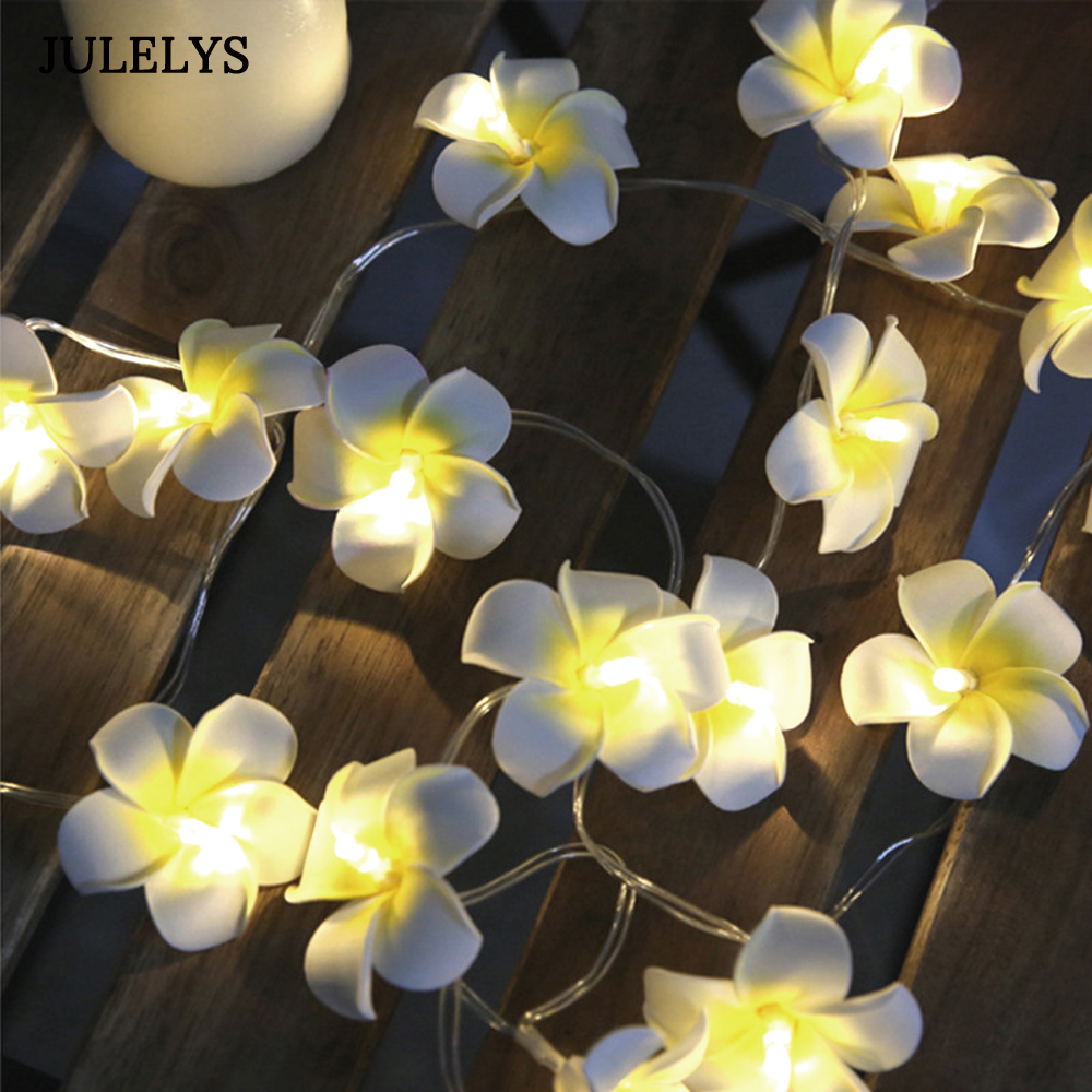 10M 100 Bulbs AA Battery Fairy Lights Plumeria LED Garland String Lights Decoration For Christmas Holiday Party Living Room