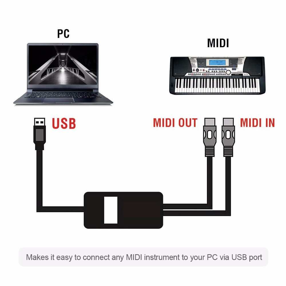 2 Meters USB To MIDI Cable Electric Piano Drum Guitar Music Compile Interface Adapter Cable Converter Support Windows And Mac OS