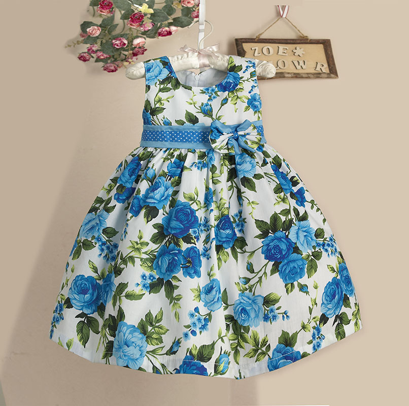 new girls flower dress dress blue floral print summer kids dresses dresses casual for. Black Bedroom Furniture Sets. Home Design Ideas