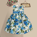 New Girls Flower Dress Blue Floral Print Summer Kids Dresses Casual For Party 3-7 Years robe reine des neiges