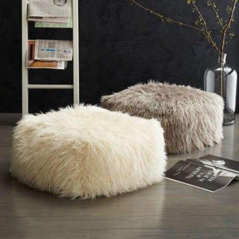 Hot Sale Super Soft Faux Fur Solid Square Bean Bag Handmade Portable  Furniture Cushion Without Filling ... c3daf33d8e