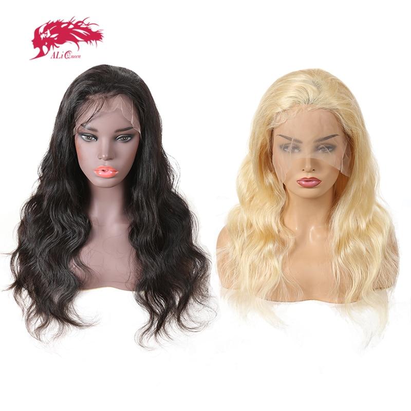Али queen hair 13x4 Синтетические волосы на кружеве натуральные волосы парики тело волна Реми натуральный черный или блондинка 613 Цвет Синтетичес...