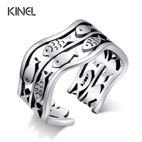 100 925 Sterling Silver Midi Rings For Women Birthday Party Gifts Vintage Lucky Fish Ring Thai