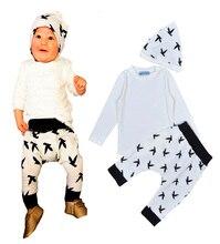 2016 Fashion baby girl boy clothing set white t shirt+Animal prints pants+Knitted hat Three-piece baby boy girl clothing set