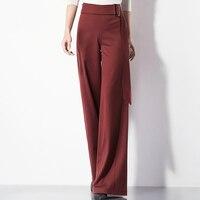 Dark red high waist wide leg pants belt skirt pants spring and autumn women's trousers loose skirt pants big feet throw pants