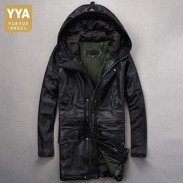 Italy Vintage Men Long Sheepskin Natural Leather Jacket Winter Real Leather Moto Biker Coat Top Brand Mult Pocket Hunting Jacket