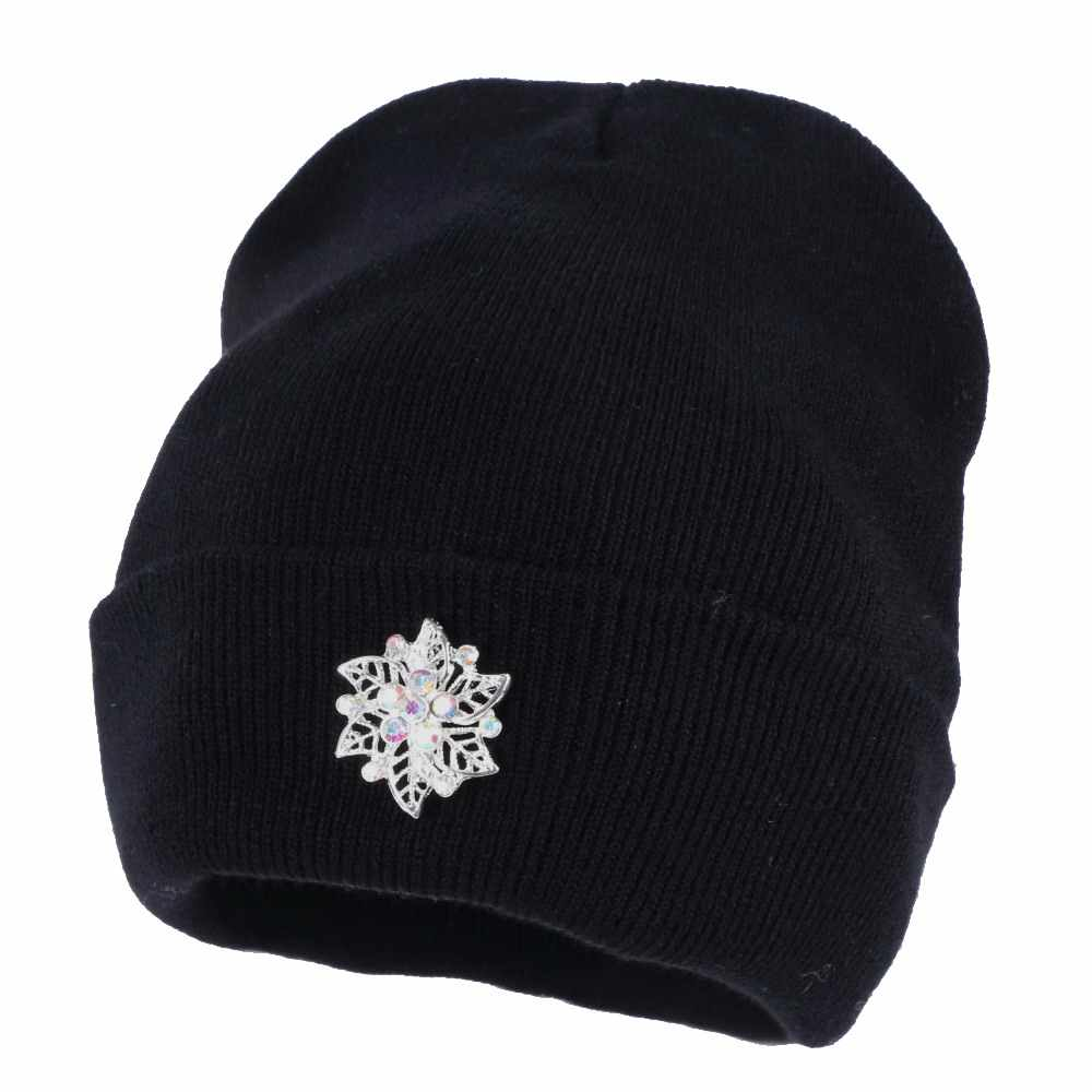 1ea9860e5c865 ... wholesale women fashion winter hat luxury crystal beanies white black  navy grey casual beanie solid colorful