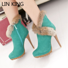 LIN KING New Style Faux Rabbit Fur Ankle Boots Women Winter High Heels Shoes Solid Warm Plush Snow Shoes Thin Heel Short Boot