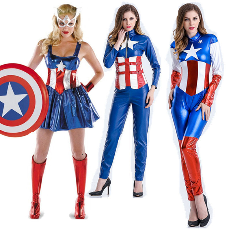Captain America Costumes, Sexy Halloween Costumes For Women , Cosplay Sexy Costume Superhero Dress For Women