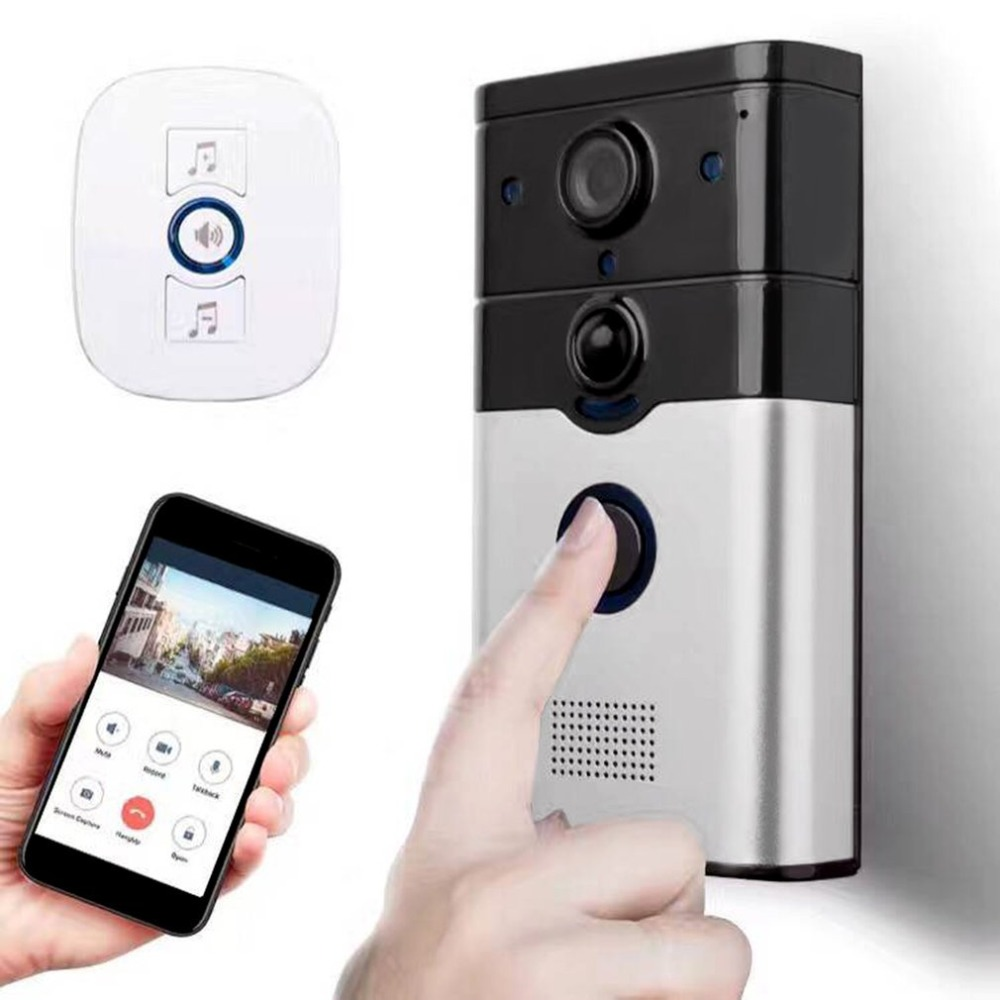 где купить WiFi Wireless Remote Doorbell 720P PIR Motion Detection Support Loop Recording with Alarm Function дешево