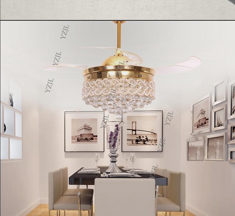 Fumat Led Ceiling Fans Crystal Light Dining Room Living: Crystal Stealth Fan LED Ceiling Light Minimalism Modern