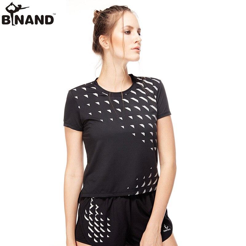 <+>  BINAND женская спортивная спортивная футболка с длинным рукавом с коротким рукавом и фитнесом с коро ①