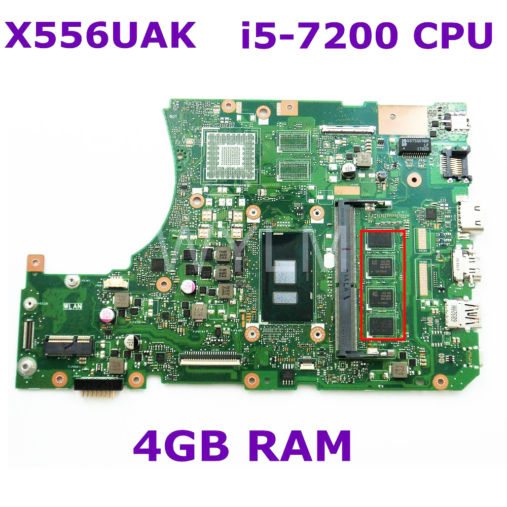 X556UAK With i5-7200 CPU 4GB RAM Mainboard REV 3.1 For ASUS X556UA X556UJ X556UV laptop motherboard Fully Tested Free Shipping