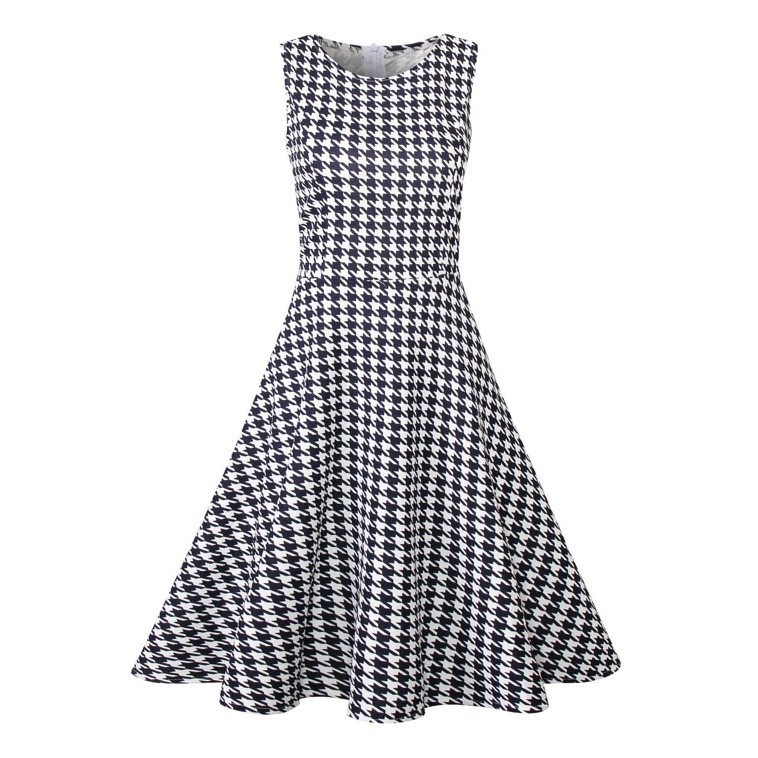 9c23e16be1d Hepburn Style Floral Houndstooth Printing Vintage Summer Dress New Women  Sleeveless Large Swing Sexy Party Dress