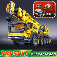 LEPIN 20004 2606Pcs Technic Motor Power Mobile Crane Mk II Model Building Kits Minifigure Blocks Bricks