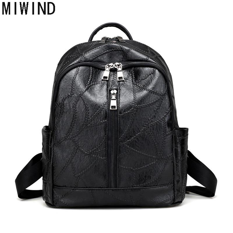 MIWIND Women Leather Backpack Fashion Black Brand Back Pack School Bag For Teenagers Girls Bagpack Casual Rucksack Daypack T1137 women backpack fashion pvc faux leather turtle backpack leather bag women traveling antitheft backpack black white free shipping