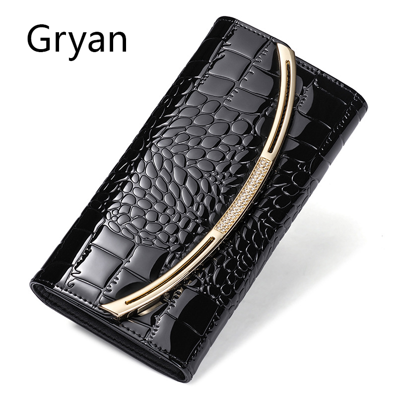 Gryan Korean version of women's purse women's long genuine leather three fold large capacity leather patent leather wallet 256