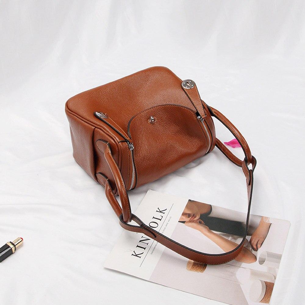 Zency nouveau docteur Style 100% en cuir véritable femmes sacs à main classique dame épaule sac à main bandoulière Messenger sac fourre-tout sacoche - 5