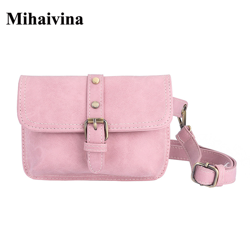 Mihaivina Vintage Waist Pack Hand Free Bag 2018 Women Leather Waist Belt Bags Fit For Iphone X/8 plus Female Pouch Money Bag