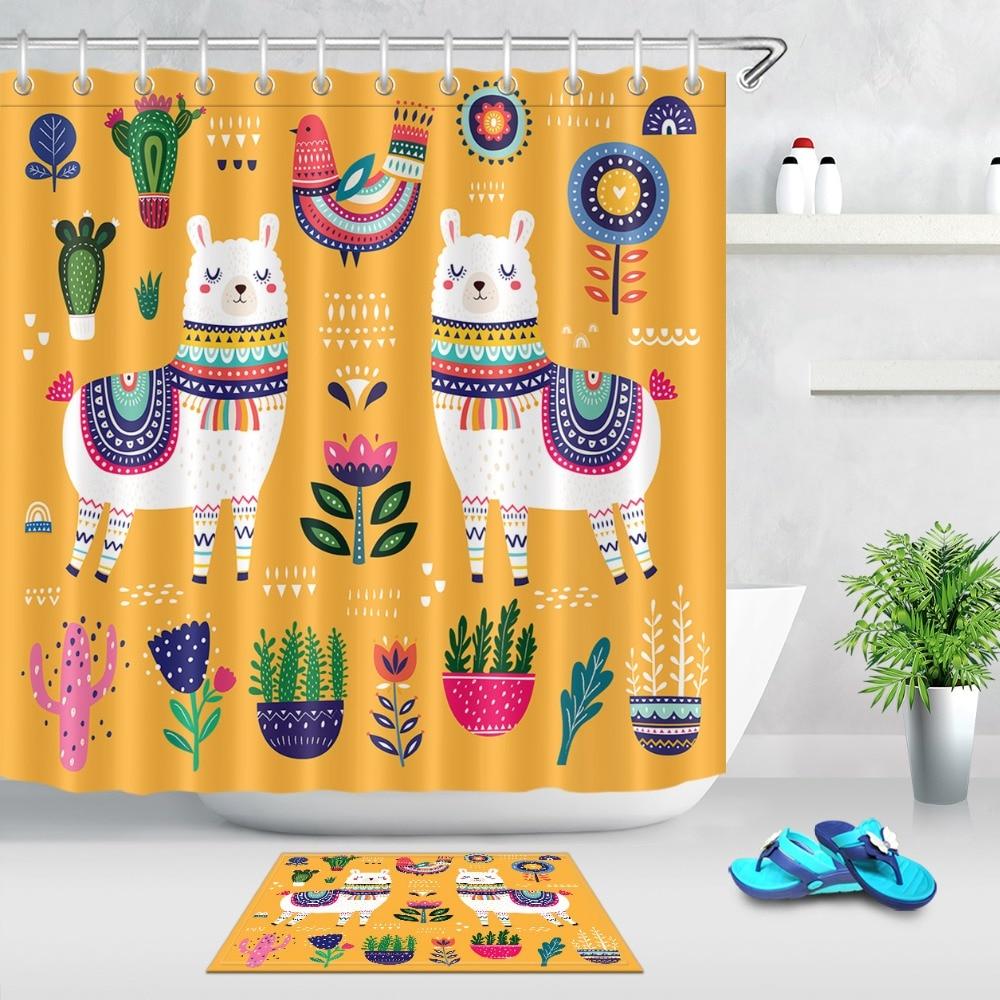 ethnic llama bird flower cactus shower curtain with mat alpaca boho bathroom waterproof polyester fabric for kids bathtub decor