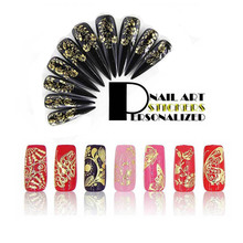 New Metal Nail Art Sticker 3D Gold Butterfly Dots Leaf Net 4 Style DIY Manicure Nails Accessories Golden Decorations Beauty 2017