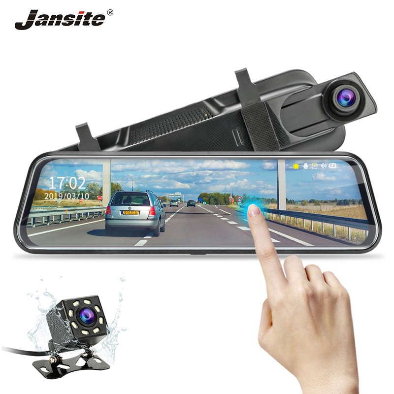Jansite 10 inch Stream Mirror Car DVR Dual Lens Video Recorders Touch Screen Full HD 1080P Car Cameras Dash Cam Motion Detection