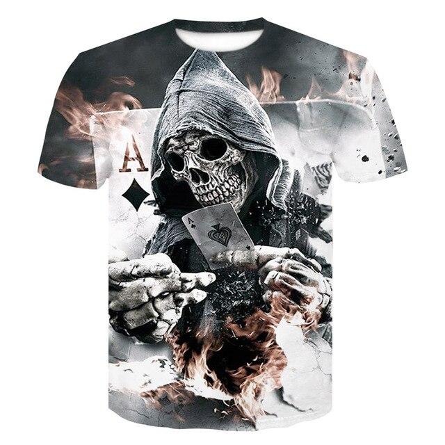 2018 bán Hot New Mens Mùa Hè Skull Poker In Người Đàn Ông Ngắn Tay Áo T-Shirt 3D T Áo Sơ Mi Giản Dị Thoáng Khí T-Shirt Cộng Với -kích thước T-Shirt