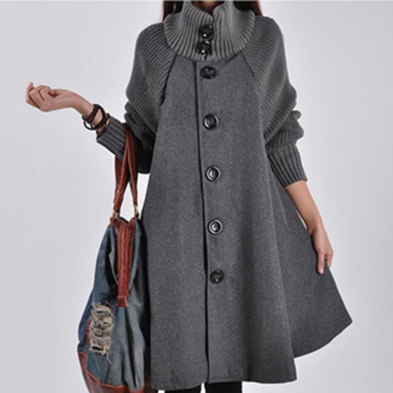 Woolen Coat Winter Cloak Knit long-sleeved High o-neck   Trench   Coat Female Spring Autumn women's single-breasted Windbreaker