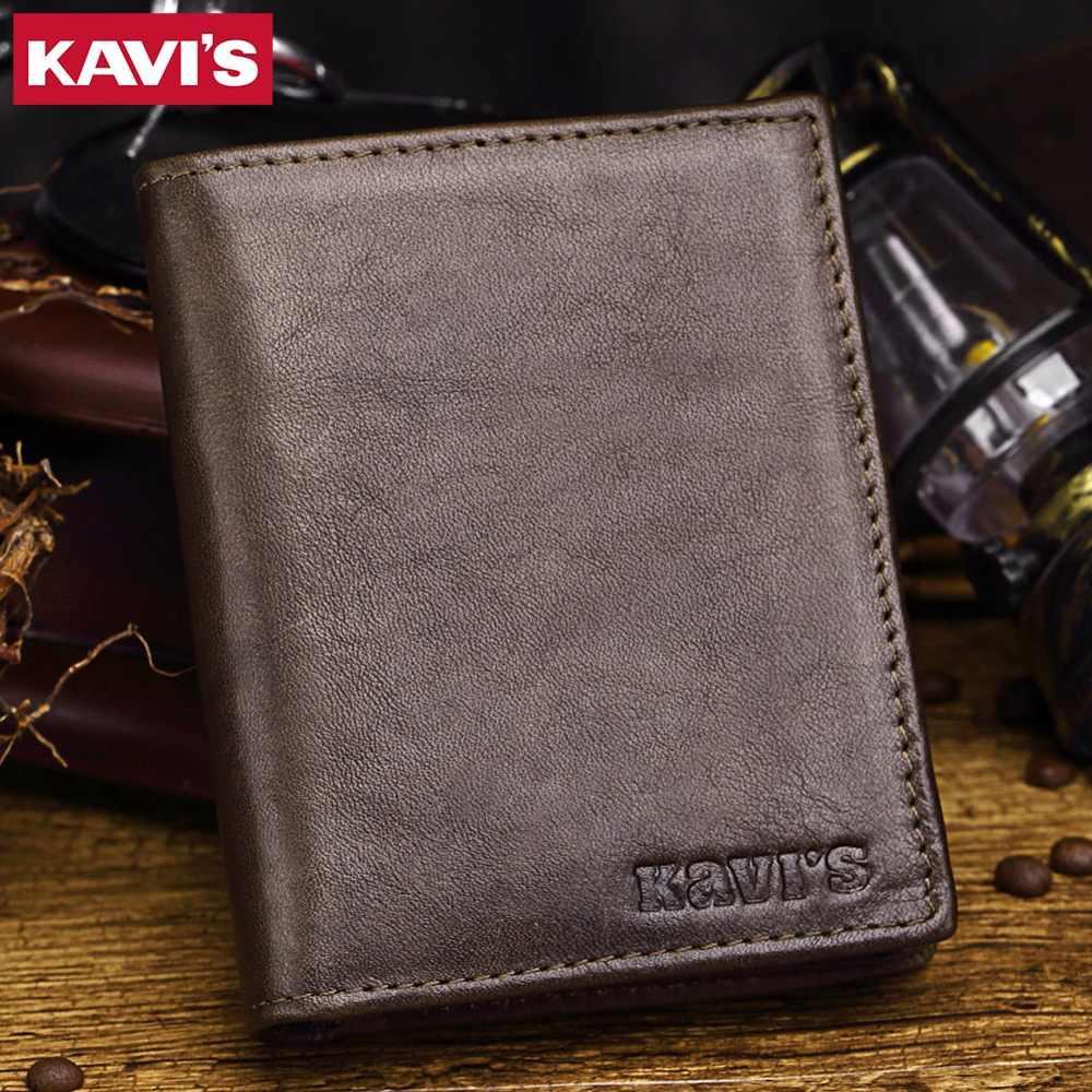 KAVIS новые мужские кошельки из натуральной кожи, винтажный Кошелек для монет, роскошный бренд, двухслойный портфель, Rfid, модный волшебный валлет, мужской Cuzdan