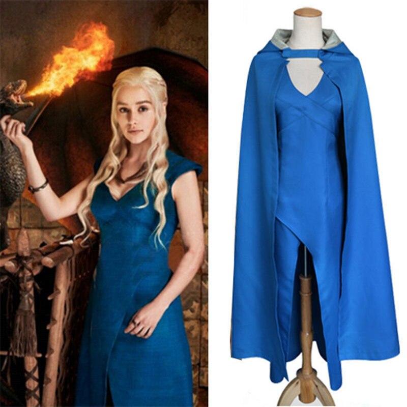 Daenerys Targaryen Cosplay disfraz mujeres adultos Juego de tronos dragón  madre fantasía carnaval fiesta azul Sexy 8e72f01a7dd6