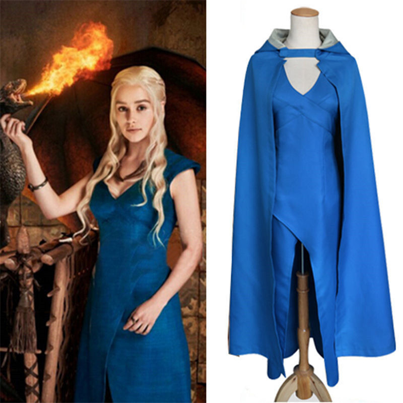 Daenerys Targaryen Cosplay Costume Women Adults Game Of Thrones Dragon Mother Fancy Carnival Party Blue Sexy Dress & Cloak
