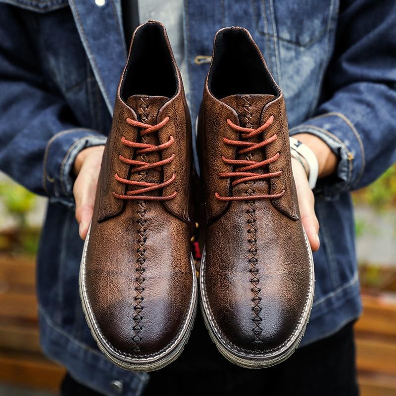 Botas Outono Moda Deserto Black Primavera Sapatos Boot Calçado De Plana Inverno Brown dark Homem Dos Neve Couro Homens Genuíno brown Ankle dFgXqdw