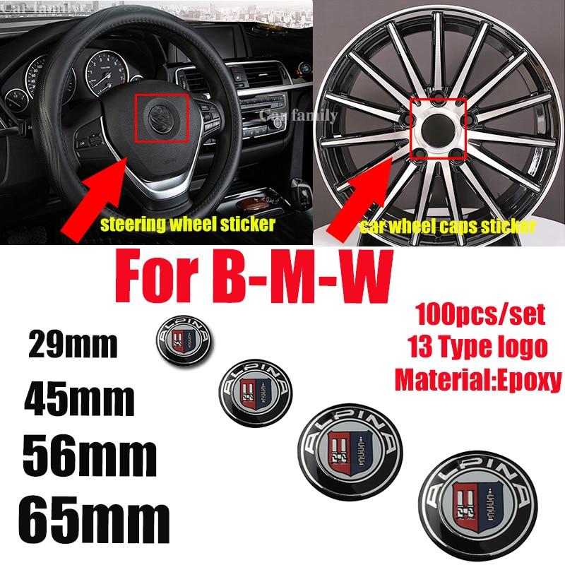 for bmw Car Styling 100pcs set 65MM 56MM 45MM 29MM Car Sticker Wheel Rim Cap Sticker