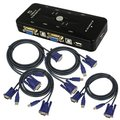 4-Port USB 2.0 KVM Switch w/4 KVM Cables Mouse Keyboard Video KVM Switch Kit