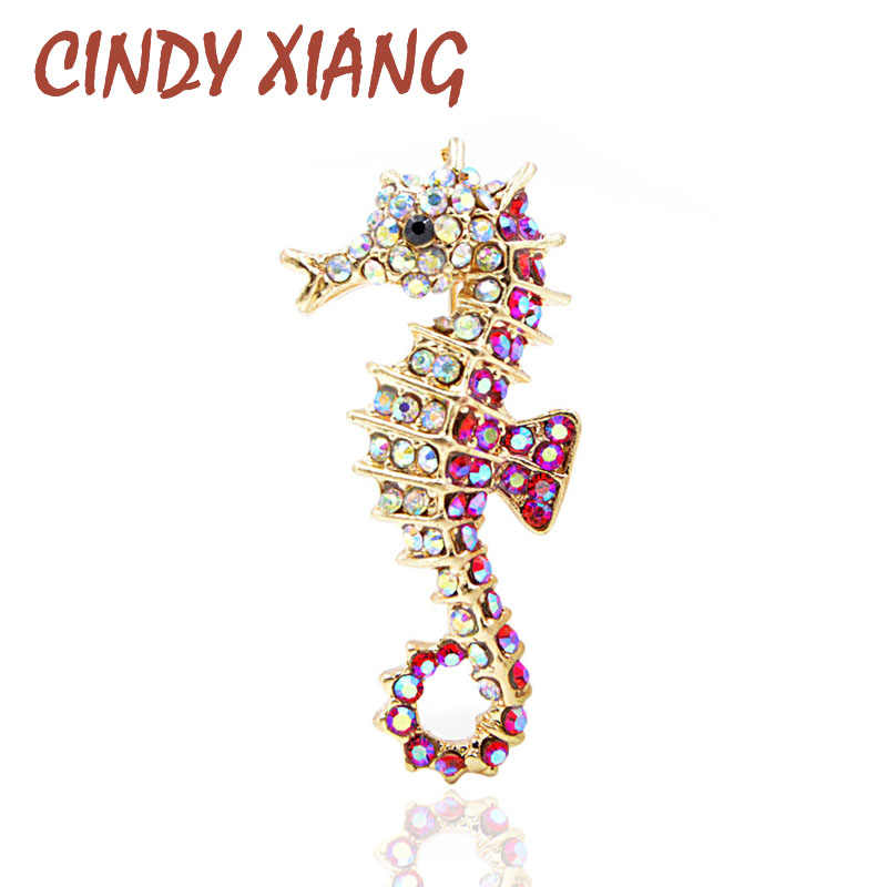 CINDY XIANG Rhinestone Seahorse Brooch 2 Colors Available Cute Sea Animal Brooches Kids Women Men Jewelry High Quality Gift