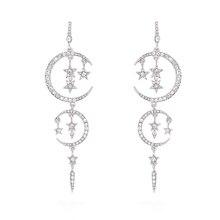 Fashion Moon Star Long Tassel Drop Dangle Earring for Women Jewel Zinc Alloy Earing Trendy Wedding Party Jewelry E013