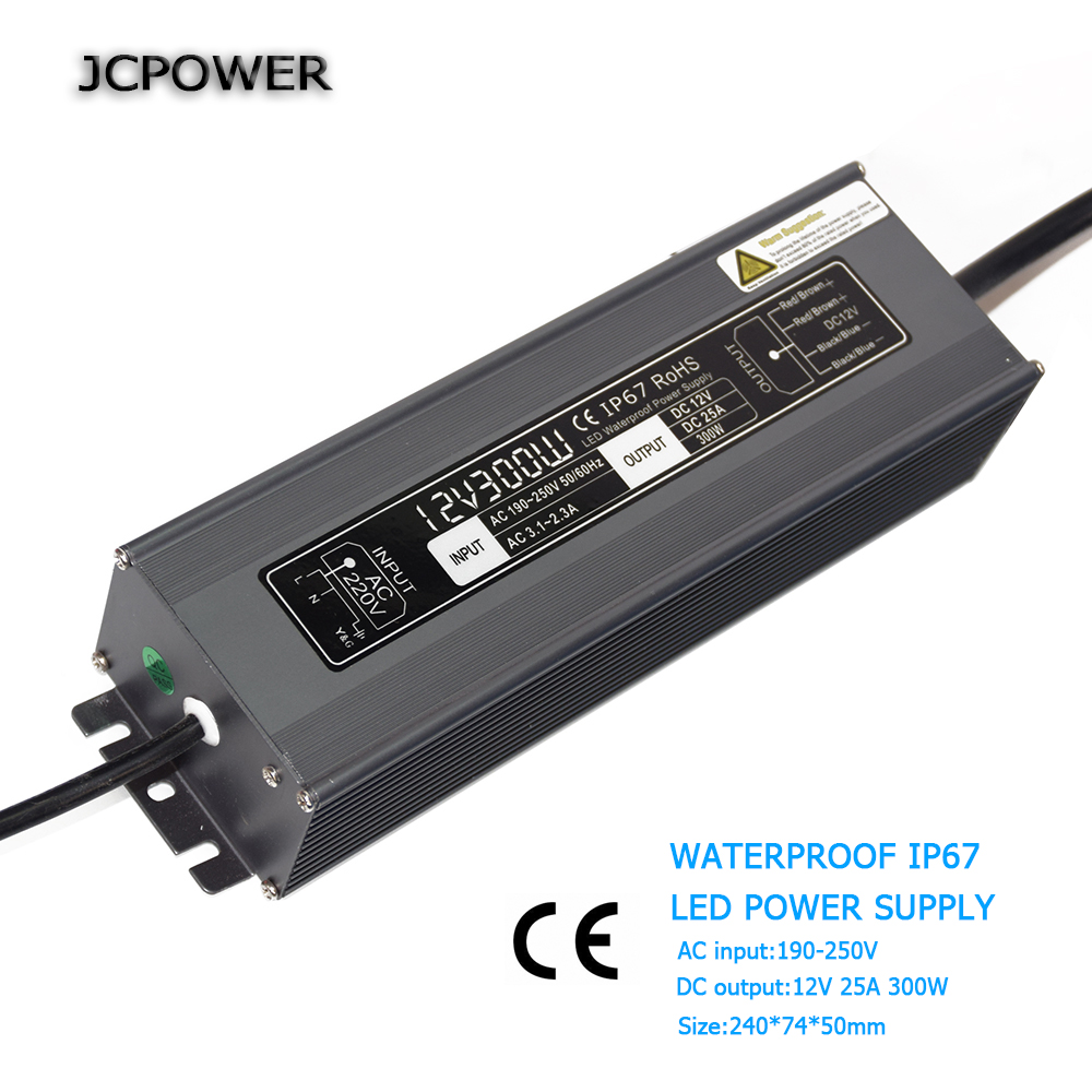 DHL shipping 12V 300W IP67 Switching Led Driver Power Supply Transformer WaterproofAC 190-250V Current 25A 90w led driver dc40v 2 7a high power led driver for flood light street light ip65 constant current drive power supply