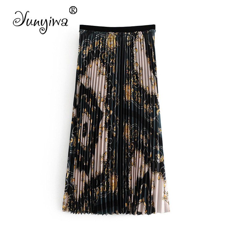 A-Line Pleated Women Skirts Jupe Femme Faldas Mujer Women's New Print Pleated Skirt Snake Print  Plus Size