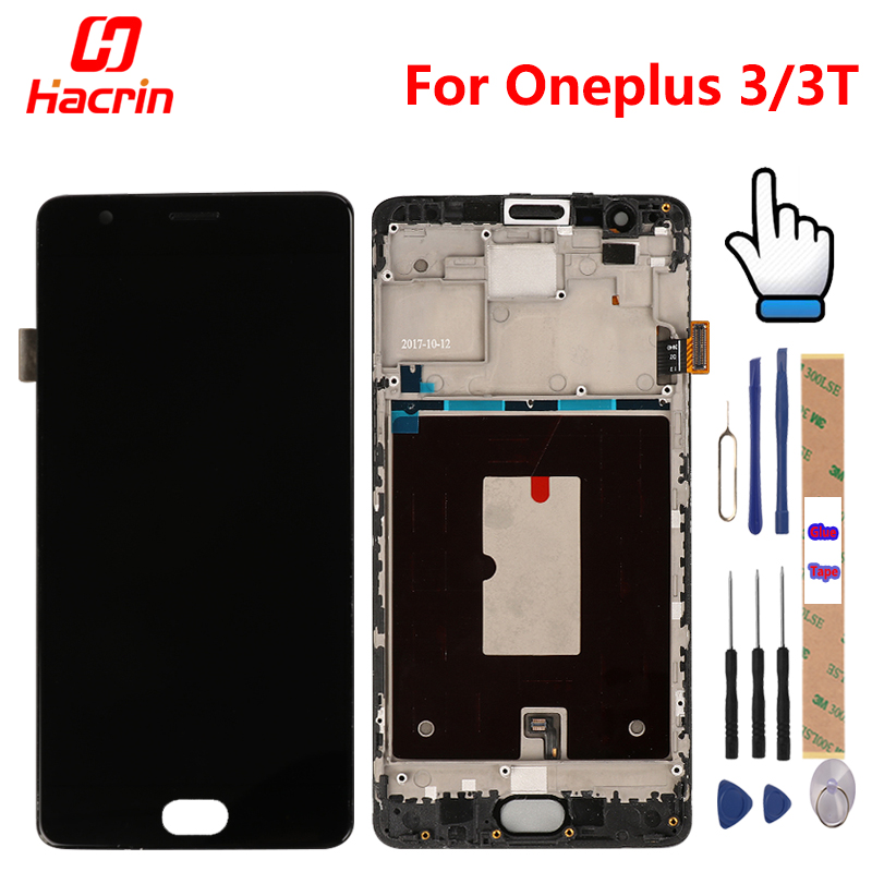 Oneplus 3 T Экран с рамкой oneplus 3 T ЖК-дисплей сенсорным экраном дигитайзер сборки Замена для oneplus 3 one plus три