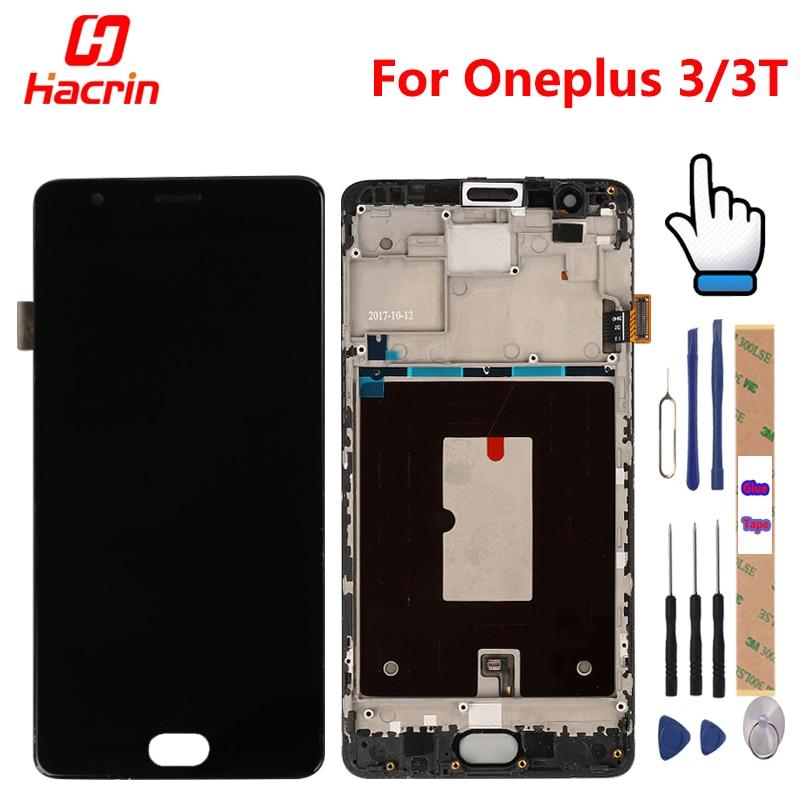 Oneplus 3 T pantalla con marco oneplus 3 T pantalla lcd pantalla táctil digitizer Asamblea reemplazo para oneplus 3 one plus tres