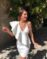 Elegant White Short Cocktail Dress Party Dresses Summer Mini Girls Skirt Formal Gowns Cheap 2019
