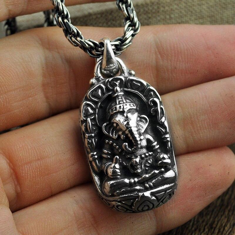 Gagafeel S925 стерлингового серебра слон кулоны из нержавеющей стали для мужские ожерелья персонализированные тайский серебряный Ретро подвеск